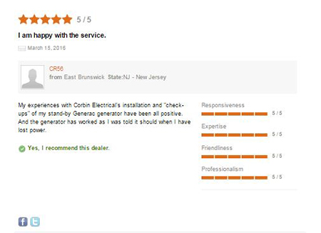 Image Of Customer Testimonial For New Jersey Standby Generator Company - Corbin Electrical Services