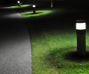 lighted driveway path at night